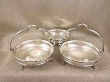 Antique Epergne Bowls Silver Plated Hoof Foot Nut Candy Centerpiece Dishes