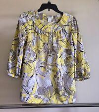 Worthington Womens multi-colored tunic blouse size 4 yellow 3/4 sleeves