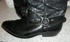 Wrangler Black Leather Vintage Cowboy Boots-wrangler black leather boots uk 10