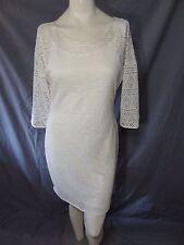Express 3/4 sleeve lace geometric dress solid ivory size XS knee mini.