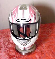 KBC Moto Design Modular Front Lift Womens Pink White Flame Star Helmet Sz XS