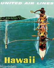 "green Print vintage art hawaii  Travel poster USA  for glass frame 36"" x 24"""