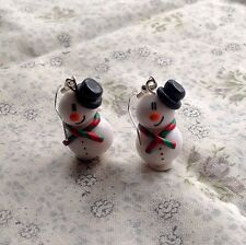snowman earrings Drops Handmade Winter Christmas Xmas Festive Snow Glitter fimo