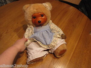 Robert Raikes Stacie Bear RARE Hand Signed numbered wood face hands dress