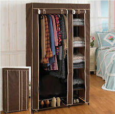 5 Shelves Easy to Assemble Portable Wardrobe Large Space Storage Brown