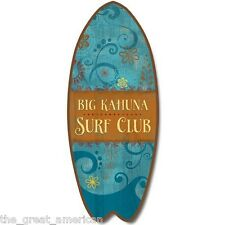 SurfBoard Surfing BIG KAHUNA SURF CLUB Nautical Wood Sign Made in the USA