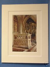 CANTILUPE SHRINE HEREFORD CATHEDRAL VINTAGE DOUBLE MOUNTED HASLEHUST PRINT c1920