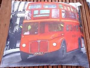 """London Bus Picture print 17""""x17"""" Filled Cushion.100% polyester machine washable"""