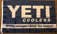 YETI COOLERS 3x5 Flag Keep Ice Longer Navy Blue Banner Lake Boat