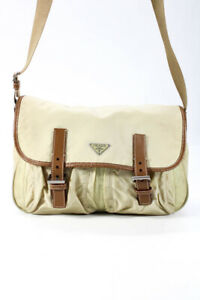 Prada Nylon Two Buckle Messenger Handbag Beige Brown