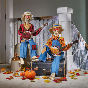Halloween 3ft 3 Inches Pair of Animated Banjo Skeletons with Lights & Sounds