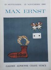 """""""MAX ERNST : EXPO GALERIE ALPHONSE CHAVE VENCE 1966"""" Affiche originale entoilée"""