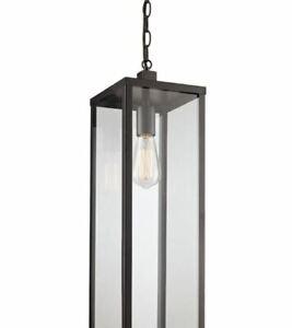 Bel Air Lighting Black Finish Outdoor 1-Light Hanging Lantern 40758 BK