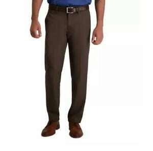 Haggar Cool 18 Performance Pants Classic No Iron Expandable Comfort Waist Brown