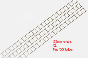 OO gauge fine etched ladder in stainless steel. Three 175mm lengths.