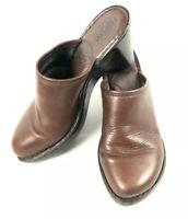 BORN Women's 8M Brown Leather Clogs Mules Heeled Shoes Handcrafted Casual