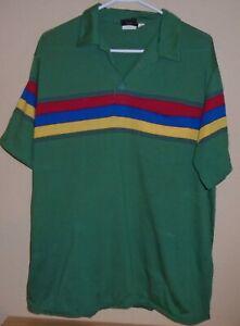 vintage 1980s Hobie striped rainbow surf polo t shirt Made USA size XL