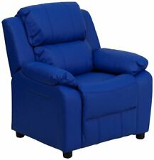 Flash Furniture Blue Vinyl Kids Recliner with Storage Arms New