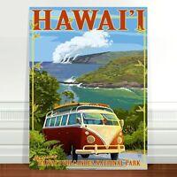 "Retro Hawaii Surf Travel Poster Art ~ CANVAS PRINT 18x12"" Hawaii VW Camper Van"