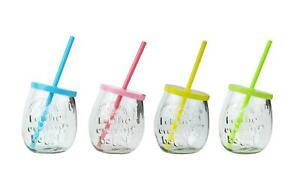 4 gin glasses embossed drinking jar summer party BBQ picnic lid straw