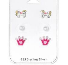 Childrens Girls Ladies Sterling Silver Set of Stud Earrings Crown, Horse, Pearl