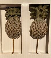 Pineapple Wall Hooks By Linens N Things Set Of 2 NIB Decor Tropical Hangers Palm