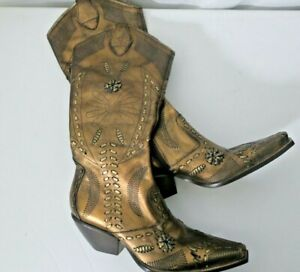 BCBGirls Copper Brown Metallic Leather Western Boots Women Sz 7.5 B Zip Up Side