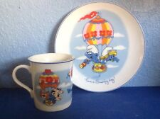 """Wallace Berrie The Smurfs """"Hot Air Baloon"""" Collector's Cup & Plate 1982"""