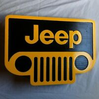 Jeep Yellow 3D routed wood sign garage car plaque Custom