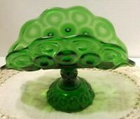 Pedestal Green Taco Style Bowl Pressed Glass Vintage Stars & Dots Scalloped Edge