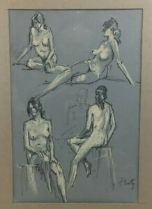 Orig.1960s signed Frank Beatty Rockport Female Nude Study Pastel Drawing #4