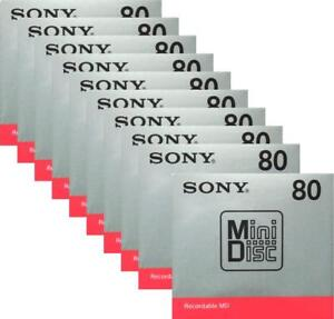 Official   Sony MD Blank Minidisc 80 Minutes Recordable MD MDW80T 10 disk set