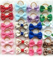 50pcs New Assorted Pet Cat Dog Hair Bows with Rubber Bands Grooming Acces