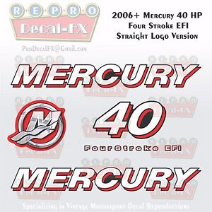 2006+ Mercury 40HP STR Decal EFI FourStroke Outboard Repro 5Pc Straight Logo Ver