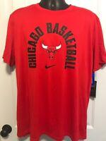 Nike DRI-FIT Chicago Bulls T Shirt NBA Basketball Red Jordan Size XL Small New