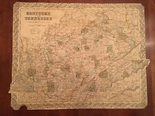 RARE 1855 KENTCUKY & TENNESSEE, Large COLTON Engraved BROADSIDE Map, Railroads +