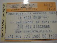 1986 MEGADETH/ Rigor Mortis DALLAS, TX CONCERT TICKET STUB