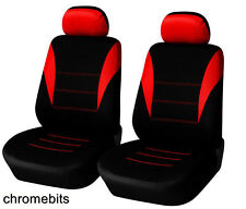 FRONT RED BLACK FABRIC SEAT COVERS 1+1 CAR VAN BUS MPV MOTORHOME TRUCK CAMPER