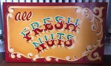 """Fairground funfair circus """"All Fresh Nuts"""" painted sign on board interior wall a"""