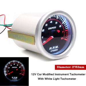 """2""""/52MM 12V Car Auto Modified Instrument Tachometer With White Light Tachometer"""