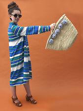 Large Grey Pom Pom French Market Beach Basket, Tote Shopper Straw Bag Moroccan