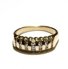 14k yellow gold .30ct round diamond anniversary wedding band ring 3.5g