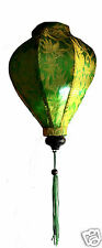 "VIETNAMESE ORIENTAL SILK BAMBOO HANDCRAFTED LANTERN LAMP chinese green 9"" S v3"