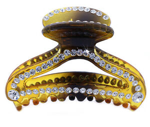 Clear Crystals Brown Hair Jaw Claw Clip for Updo  Women Hair Jewelry  hc3br