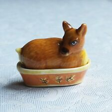 Dollhouse Miniatures: a two-part lidded porcelain casserole dish - deer