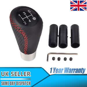 Universal Manual Car Gear Stick Shift Knob Shifter 5 Speed Red Leather Stitche