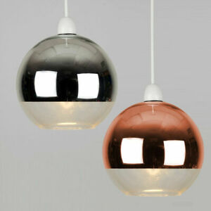 Ceiling Pendant Shade Bedroom Glass Lamp Lounge Light Designer Chrome / Copper
