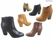 NEW Women's Faux Leather Dress Round Pointy Toe Heel Booties Large Size 5.5 - 11