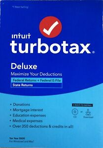 TurboTax Deluxe 2020 Federal Returns + Federal E-file/state Returns CD/Download