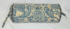 Pillow made w Ralph Lauren The Landing Blue & Brown Damask Fabric N trim cording